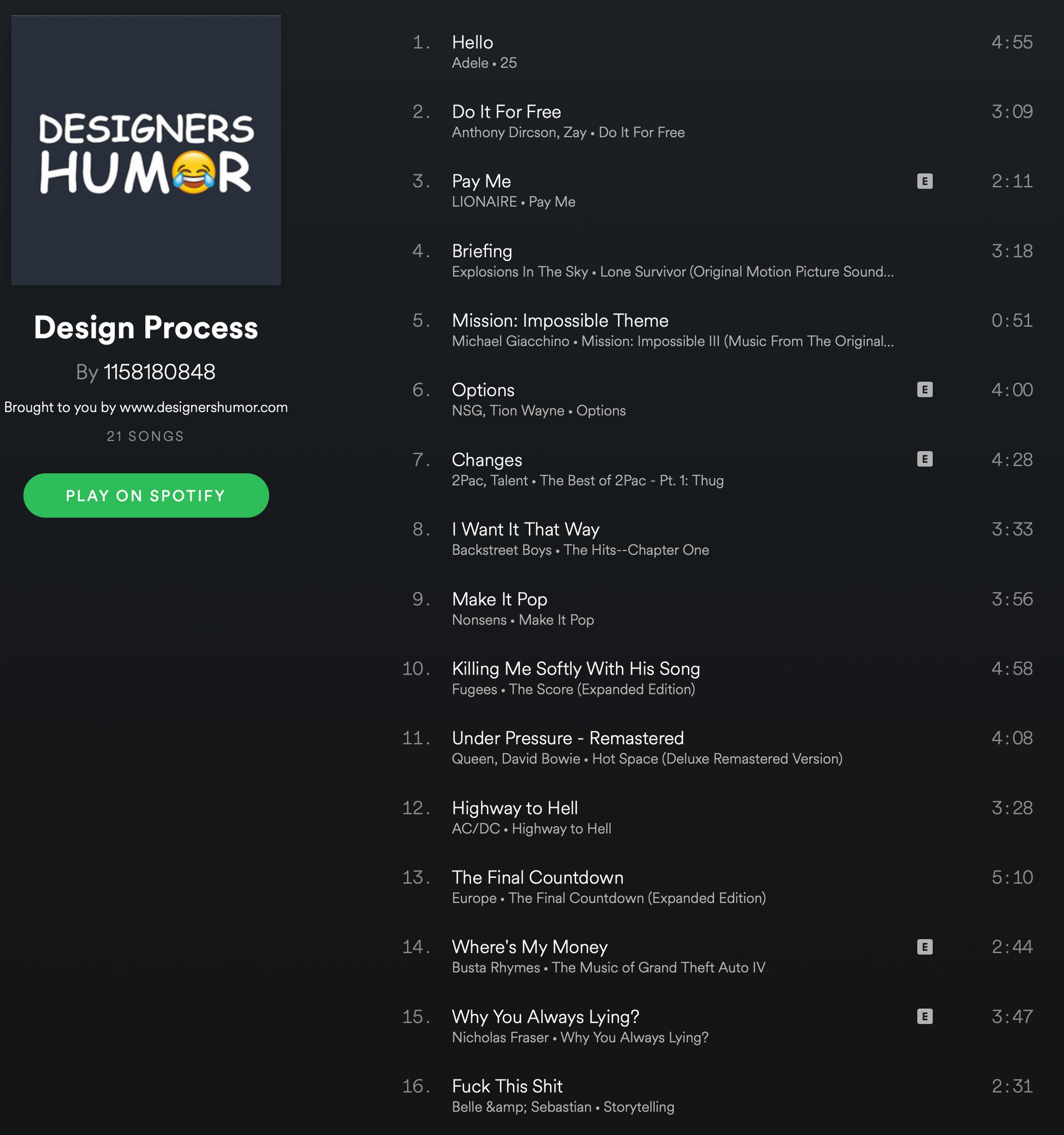 Designer's Work Music Fix